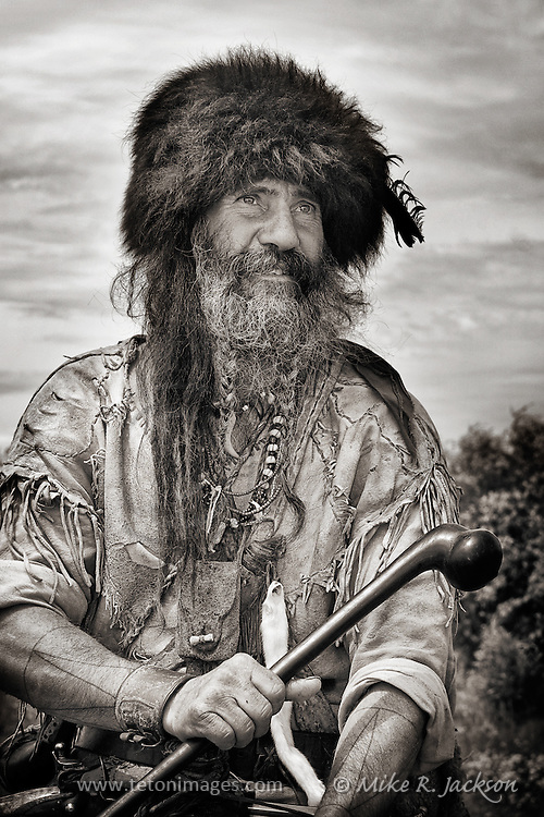 Mountain Man in his authentic garb at a rendezvous in southern Wyoming.