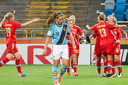 18.07.2013, Nya Parken, Norrkoeping, SWE, UEFA Damen Euro, Russland vs Spanien, im Bild Efter 1-1 av 10 Elena Terekhova, 19 Ksenia Tsybutovich, 23 Elena Morozova, 20 Nelli Korivkina, 13 alla Sidorovskaya och 12 Alexia Putellas // during UEFA Womens Euro Match between Russia and Spain at the Nya Parken Stadium, Norrkoeping, Sweden on 2013/07/18. EXPA Pictures &copy; 2013, PhotoCredit: EXPA/ PicAgency Skycam/ Lotta Anelid Karlgren<br /> <br /> ***** ATTENTION - OUT OF SWE *****