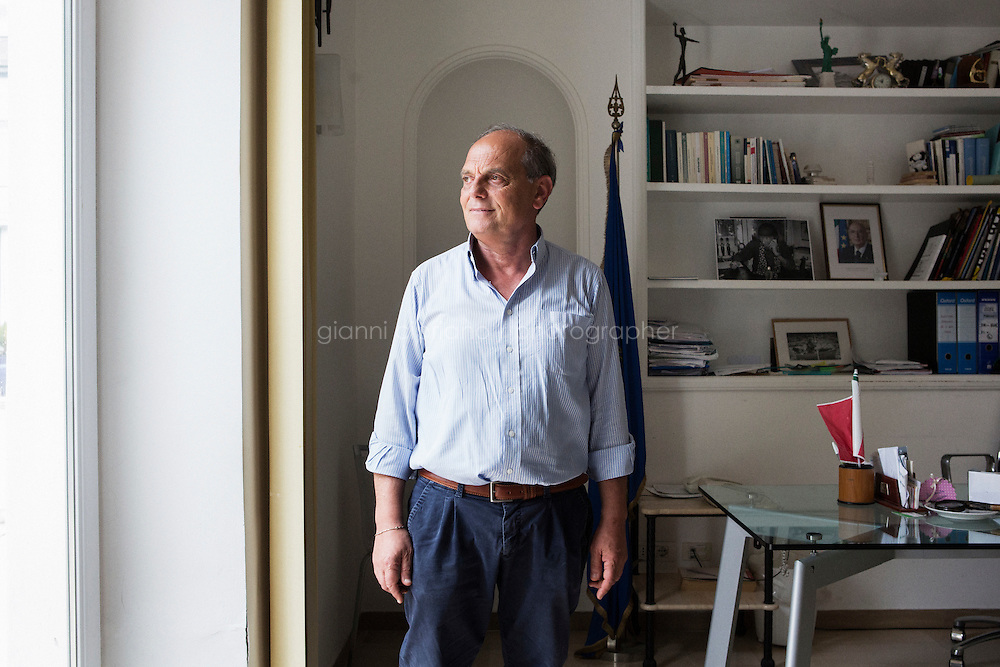 ANACAPRI, ITALY - 22 JULY 2014: Mayor of Anacapri Franco Cerrotta poses for a portrait after an interview in his office in Anacapri, a small comune on the island of Capri, Italy, on July 22nd 2014. Franco Cerrotta met New York Mayor Bill De Blasio the evening of his arrival on the island. Franco Cerrotta has been mayor of Anacapri for 20 years, and was re-elected in May 2014.<br /> <br /> New York City Mayor Bill de Blasio arrived in Italy with his family Sunday morning for an 8-day summer vacation that includes meetings with government officials and sightseeing in his ancestral homeland.