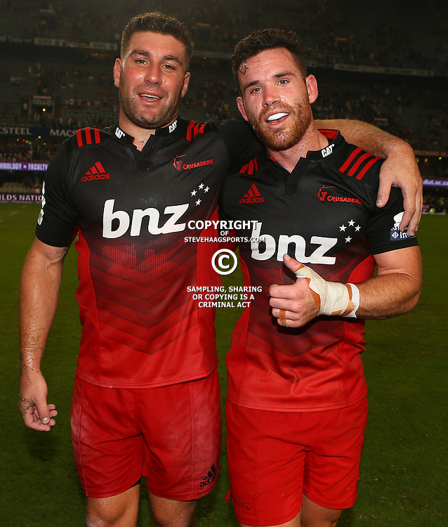 DURBAN, SOUTH AFRICA - MARCH 26: Kieron Fonotia of the BNZ Crusaders with Ryan Crotty of the BNZ Crusaders during the Super Rugby match between Cell C Sharks and BNZ Crusaders at Growthpoint Kings Park on March 26, 2016 in Durban, South Africa. (Photo by Steve Haag)<br /> <br /> images for social media must have consent from Steve Haag