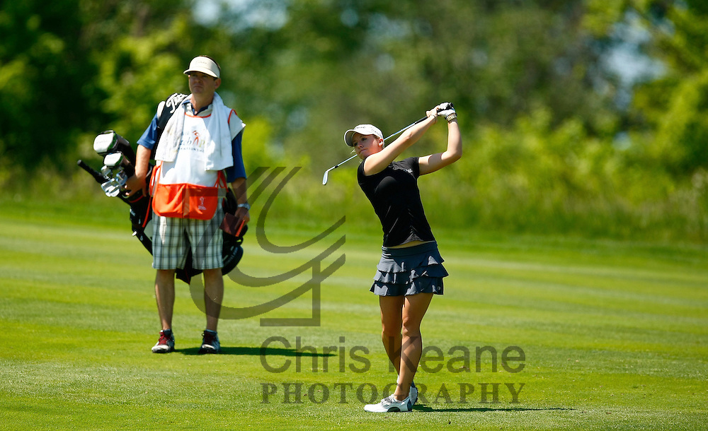 17 May 2012: Jodi Ewart watches her second shot on the 14th hoel during the first round of match play at the Sybase Match Play Championship at Hamilton Farm Golf Club in Gladstone, New Jersey on May 17, 2012.  (Photo by Chris Keane - www.chriskeane.com)
