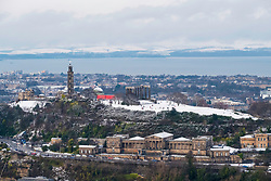 View towards Calton Hill and former Royal High School after snow fall in Edinburgh during winter in Scotland, United Kingdom.