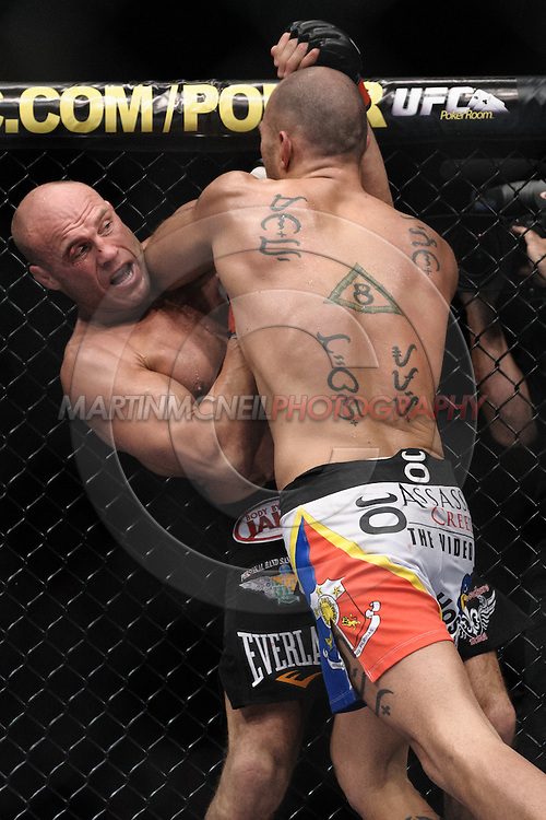 """MANCHESTER, ENGLAND, NOVEMBER 14, 2009: Randy Couture (left) and Brandon Vera during """"UFC 105: Couture vs. Vera"""" inside the MEN Arena in Manchester, United Kingdom"""