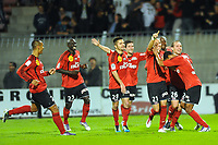 FOOTBALL - FRENCH CHAMPIONSHIP 2011/2012 - EA GUINGAMP v AS MONACO  - 17/10/2011 - PHOTO PASCAL ALLEE / DPPI - EA GUINGAMP PLAYERS CELEBRATE THE THIERRY ARGELIER GOAL  (EAG)