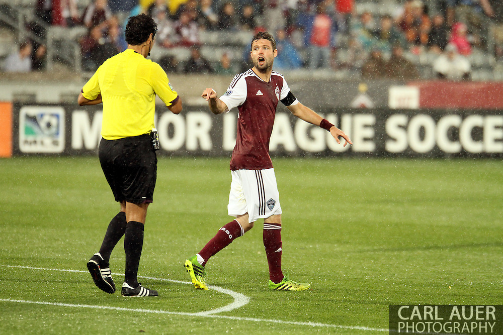 August 3rd, 2013 - Colorado Rapids captain and defender Drew Moor (3) expresses his dissatisfaction about a yellow card issued to the Rapids goalie after the penalty kick in the first half of action of the Major League Soccer match between Real Salt Lake and the Colorado Rapids at Dick's Sporting Goods Park in Commerce City, CO