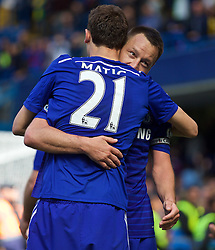 LONDON, ENGLAND - Sunday, May 3, 2015: Chelsea's captain John Terry celebrates winning the Premier League title after the 1-0 victory over Crystal Palace at Stamford Bridge. (Pic by David Rawcliffe/Propaganda)