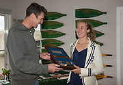 Putney-Chiswick.  Greater  London, UK. Left, prize giver Greg SEARLE, MBE and 2015 Women's Wingfield Sculls Race winner Mathilda HODGKINS-BYRNE. prze gining at the Tidway Scullers School, Boathouse.   Championship Course, River Thames  Thursday  12/11/2015 <br /> <br /> [Mandatory Credit: Peter SPURRIER: Intersport Images]