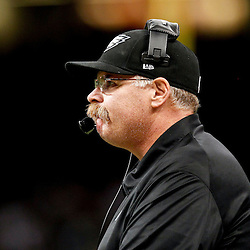 November 5, 2012; New Orleans, LA, USA; Philadelphia Eagles head coach Andy Reid against the New Orleans Saints during the second half of a game at the Mercedes-Benz Superdome. The Saints defeated the Easgles 28-13. Mandatory Credit: Derick E. Hingle-US PRESSWIRE