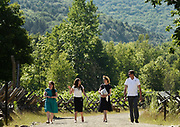 Missionaries, left, give a guided tour of the Church of Jesus Christ of Latter Day Saints Priesthood Restoration Site to visitors, in Susquehanna, PA, Thursday, July 21, 2016. The site, which was errected and opened in 2015 and has seen 25,000 visitors to date, and is where Joseph Smith translated the Book of Mormon.<br /> CREDIT: Heather Ainsworth for The Wall Street Journal