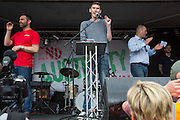 Sam Fairbairn, National secretary of the People's Assembly speaking at the the People's Assembly Against Austerity 'End Austerity Now' demonstration attended by over 250,000 people on Saturday 20th of June 2015 sending a clear message to the Tory government; demanding an alternative to austerity and to policies that only benefit those at the top. London, UK.