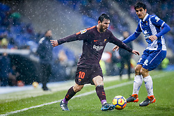 February 4, 2018 - Barcelona, Catalonia, Spain - FC Barcelona forward Lionel Messi (10) and RCD Espanyol forward Gerard Moreno (7) during the match between RCD Espanyol vs FC Barcelona, for the round 22 of the Liga Santander, played at Cornella -El Prat Stadium on 4th February 2018 in Barcelona, Spain. (Credit Image: © Urbanandsport/NurPhoto via ZUMA Press)