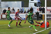 Andy Barcham midfielder for AFC Wimbledon (17) sees his header stopped on the line during the Sky Bet League 2 play-off 2nd leg match between Accrington Stanley and AFC Wimbledon at the Fraser Eagle Stadium, Accrington, England on 18 May 2016. Photo by Stuart Butcher.