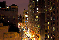 New York City street and housing elevated view at night
