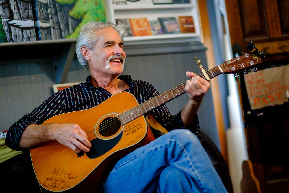 CHILDS, MARYLAND - SEPTEMBER 2: Hugh Campbell plays music with Zane Campbell (not pictured) in the Childs Store on Saturday, September 2, 2017 in Childs, Maryland. Most Campbells are store owners and artists and musicians, including his Aunt Ola Belle, a star of old-time/bluegrass music in the 60s and 70s, who also ran a country-music park. (Photo by Pete Marovich For The Washington Post)