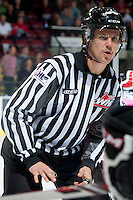 KELOWNA, CANADA - NOVEMBER 8: Dustin Minty, linesman, stands at the face off between the Prince George Cougars and the Kelowna Rockets on November 8, 2013 at Prospera Place in Kelowna, British Columbia, Canada.   (Photo by Marissa Baecker/Getty Images)  *** Local Caption ***