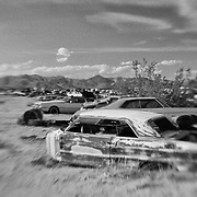 No Front End Chevy - Pearsonville, CA - Lensbaby - Infrared Black & White