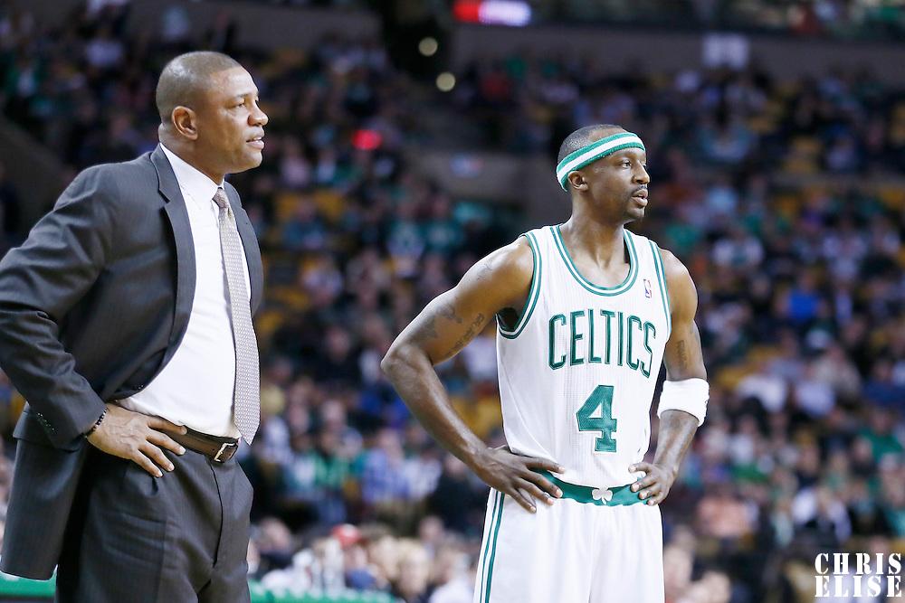 03 April 2013: Boston Celtics head coach Doc Rivers is seen next Boston Celtics shooting guard Jason Terry (4) during the Boston Celtics 98-93 victory over the Detroit Pistons at the TD Garden, Boston, Massachusetts, USA.
