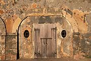 Door in wall of El Morro fortress, San Juan National Historic Site, Old San Juan, Puerto Rico..