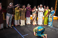 Lincroft, New Jersey, 9/20/14: Musicians and family members bless Hema Ramaswamy before her arangetram performance.