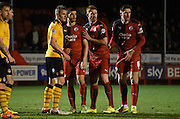 Crawley await the corner during the Sky Bet League 2 match between Crawley Town and Newport County at the Checkatrade.com Stadium, Crawley, England on 1 March 2016. Photo by Michael Hulf.