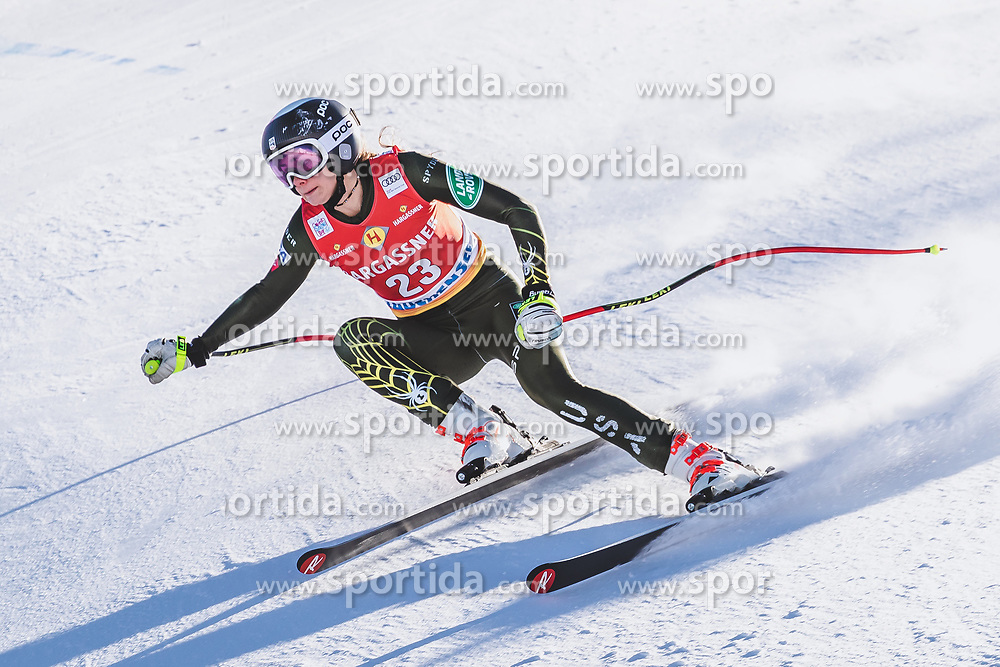10.01.2020, Keelberloch Rennstrecke, Altenmark, AUT, FIS Weltcup Ski Alpin, Abfahrt, Damen, 2. Training, im Bild Alice Merryweather (USA) // Alice Merryweather of the USA in action during her 2nd training run for the women's Downhill of FIS ski alpine world cup at the Keelberloch Rennstrecke in Altenmark, Austria on 2020/01/10. EXPA Pictures © 2020, PhotoCredit: EXPA/ Johann Groder