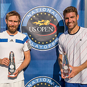 August 24, 2016, New Haven, Connecticut: <br /> Nicolas Meister and Eric Quigley pose for a photograph with the trophies after winning the US Open National Playoffs men's doubles finals on Day 6 of the 2016 Connecticut Open at the Yale University Tennis Center on Wednesday, August  24, 2016 in New Haven, Connecticut. <br /> (Photo by Billie Weiss/Connecticut Open)