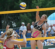STARE JABLONKI POLAND - July 5:Britta Buthe of Germany in action during Day 5 of the FIVB Beach Volleyball World Championships on July 5, 2013 in Stare Jablonki Poland.  (Photo by Piotr Hawalej)