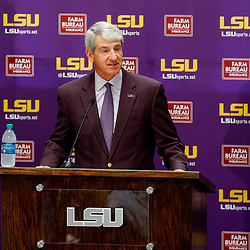 Mar 22, 2017; Baton Rouge, LA, USA; LSU Tigers athletic director Joe Alleva talks to the media prior to introducing new basketball head coach Will Wade (not pictured) during a press conference at the LSU Student Union. Mandatory Credit: Derick E. Hingle-USA TODAY Sports