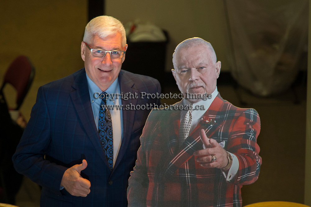 KELOWNA, CANADA - MARCH 3: Kelowna Rockets President and General Manager Bruce Hamilton poses with Don Cherry on March 3, 2018 at Prospera Place in Kelowna, British Columbia, Canada.  (Photo by Marissa Baecker/Shoot the Breeze)  *** Local Caption ***