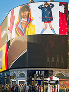London, England - October 27, 2017: Piccadilly Lights, Advertising Screens at Piccadilly Circus road junction, London. Piccadilly Circus was built in 1819.