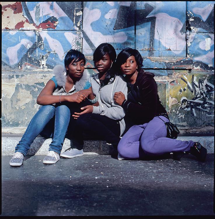 schoolgirls in Belleville neigboorhood, Paris.