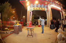Stock photo of burning incense at the temple during the Chinese New Year celebration in Houston Texas
