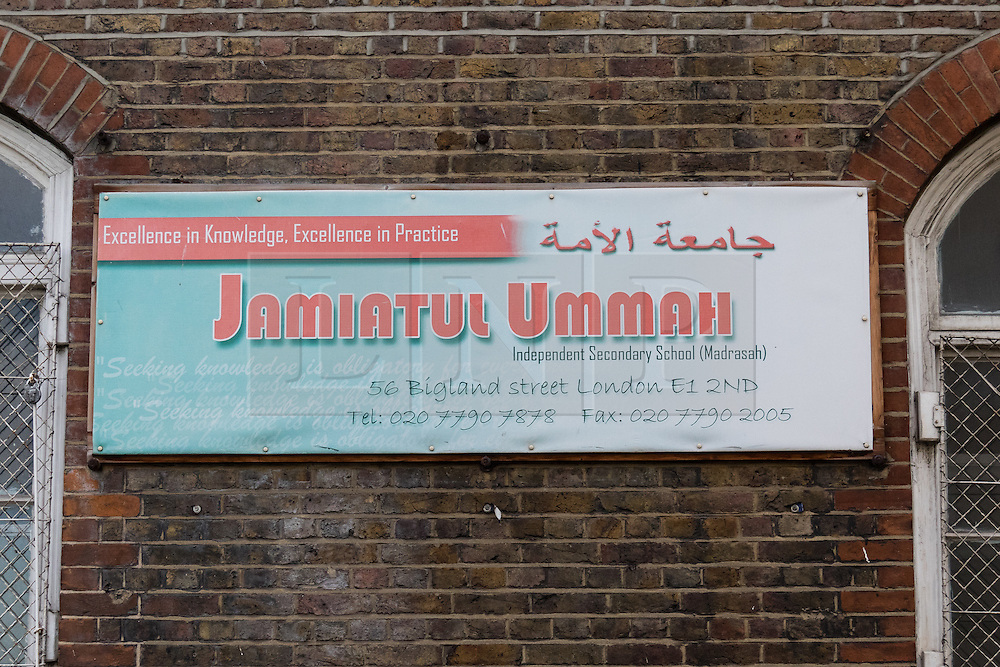 © Licensed to London News Pictures. 20/01/2016. London, UK. General view of Jamiatul Ummah, a private independent muslim school in Shadwell, Tower Hamlets, east London. Jamiatul Ummah  school has failed its Ofsted inspection after the watchdog found books promoting extreme views, including stoning people to death, in its library. Photo credit : Vickie Flores/LNP