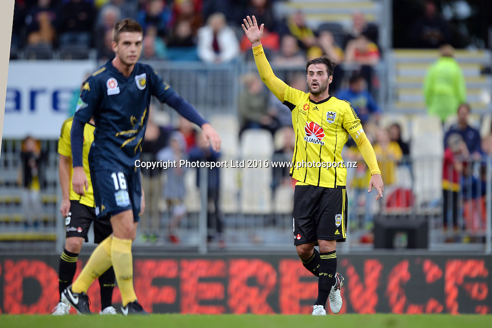 Thomas Doyle of the Phoenix  reacting while an adboard in the background says Difference during the round 17 A-League match between the Wellington Phoenix and the Central Coast Mariners at AMI Stadium in Christchurch, New Zealand. 30 January 2016. Photo: Kai Schwoerer / www.photosport.nz
