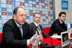 Gabrijel Skof, general manager of Adriatic Slovenica d.d., Aleksander Ceferin, president of NZS and Ales Zavrl, secretary general of NZS during press conference of Football Association of Slovenia (NZS) on January 22, 2013 in Austria Trend Hotel, Ljubljana, Slovenia. (Photo By Vid Ponikvar / Sportida.com)