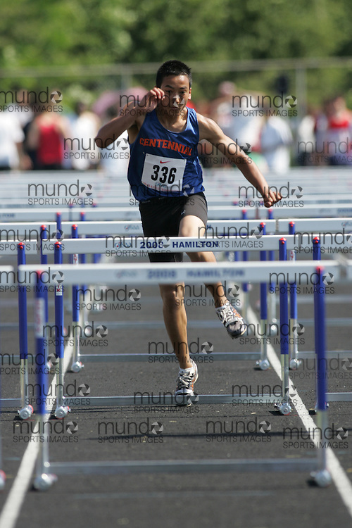 Hamilton, Ontario ---06/06/08--- Vinh Le of Centennial in Welland competes in the sprint hurdles at the 2008 OFSAA Track and Field meet in Hamilton, Ontario..SEAN BURGES