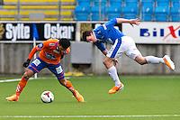 Treningskamp fotball 2014: Molde - Aalesund. Aalesunds Michael Barrantes Rojas (t.v.) og Vegard Forren i duell i treningskampen mellom Molde og Aalesund på Aker stadion.