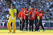 Wicket - Liam Plunkett of England celebrates taking the wicket of D'Arcy Short of Australia during the International T20 match between England and Australia at Edgbaston, Birmingham, United Kingdom on 27 June 2018. Picture by Graham Hunt.