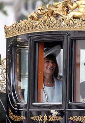29 April 2011. London, England..Royal wedding day.  Carole Middleton, mother of the bride leaves Westminster Abbey..Photo; Charlie Varley.
