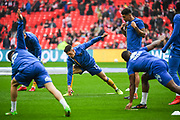 Shrewsbury Town warm-up ahead of the EFL Trophy Final match between Lincoln City and Shrewsbury Town at Wembley Stadium, London, England on 8 April 2018. Picture by Stephen Wright.