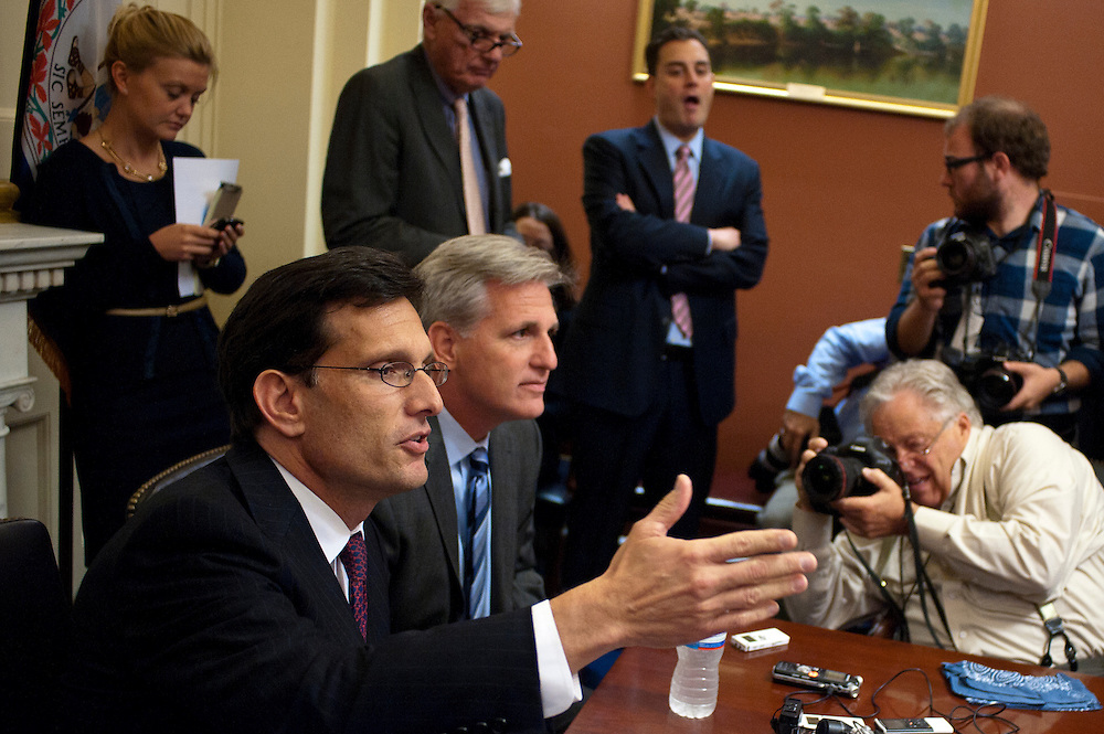 House Majority Leader ERIC CANTOR (R-VA) and House Majority Whip KEVIN MCCARTHY (R-CA) hold a press conference on Capitol Hill Tuesday answering questions about the President's proposed tax hikes on the weathy.