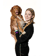 "Amy Gibbs and her Novia Scotia Duck Tolling Retriever named ""Puzzle"""