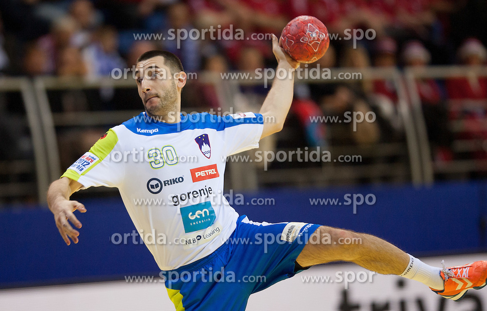 Dragan Gajic of Slovenia during handball match between Slovenia and Croatia in  2nd Round of Preliminary Round of 10th EHF European Handball Championship Serbia 2012, on January 18, 2012 in Millennium Center, Vrsac, Serbia. Croatia defeated Slovenia 31-29. (Photo By Vid Ponikvar / Sportida.com)