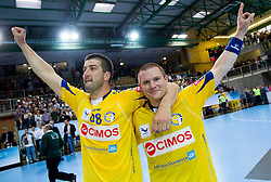 Vladimir Osmajic of Cimos Koper and Robert Konecnik of Cimos Koper celebrate after the 1st Leg handball match between RK Cimos Koper and BM Atletico Madrid (ESP) in Quarterfinals of EHF Champions League 2011/2012, on April 21, 2012 in Arena Bonifika, Koper, Slovenia.  Cimos Koper defeated Atletico Madrid 26-23. (Photo by Vid Ponikvar / Sportida.com)
