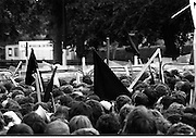 H-Block Protest To British Embassy.  (N86)..1981..18.07.1981..07.18.1981..18th July 1981..A protest march to demonstrate against the H-Blocks in Northern Ireland was held today in Dublin. After the death of several hunger strikers in the H-Blocks feelings were running very high. The protest march was to proceed to the British Embassy in Ballsbridge...Image shows a stand off between protestors and Gardaí at the junction of Simmonscourt Road.