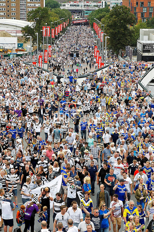 Fans head up Wembley Way for during the Challenge Cup Final 2016 match between Warrington Wolves and Hull FC at Wembley Stadium, London, England on 27 August 2016. Photo by Craig Galloway.