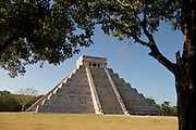The 75 foot high El Castillo, or the temple of Kukulkan at Chichen Itza, Yucatan, Mexico.