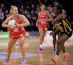 England's Chelsea Pitman, left, looks to pass the ball against South Africa in the Netball Quad Series netball match, ILT Stadium Southland, Invercargill, New Zealand, Sept. 3 2017.  Credit:SNPA / Adam Binns ** NO ARCHIVING**