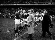 Irish Rugby Football Union, Ireland v Wales, Five Nations, Landsdowne Road, Dublin, Ireland, Saturday 15th March, 1958,.15.3.1958, 3.15.1958,..Referee- Dr N M Parkes, Rugby Football Union, ..Score- Ireland 6 - 9 Wales,..Irish Team, ..J G M W Murphy, Wearing number 15 Irish jersey, Full Back, London Irish Rugby Football Club, Surrey, England, ..A J O'Reilly, Wearing number 14 Irish jersey, Right Wing, Old Belvedere Rugby Football Club, Dublin, Ireland,  ..N J Henderson, Wearing number 13 Irish jersey, Captain of the Irish team, Right centre, N.I.F.C, Rugby Football Club, Belfast, Northern Ireland, ..D Hewitt, Wearing number 12 Irish jersey, Left centre, Queens University Rugby Football Club, Belfast, Northern Ireland,..A C Pedlow, Wearing number 11 Irish jersey, Left wing,  C I Y M S Rugby Football Club, Belfast, Northern Ireland, ..M A English, Wearing number 10 Irish jersey, Outside Half, Bohemians Rugby Football Club, Limerick, Ireland, ..J A O'Meara, Wearing number 9 Irish jersey, Scrum Half, Dolphin Rugby Football Club, Cork, Ireland, ..P J O'Donoghue, Wearing  Number 1 Irish jersey, Forward, Bective Rangers Rugby Football Club, Dublin, Ireland, ..A R Dawson, Wearing number 2 Irish jersey, Forward, Wanderers Rugby Football Club, Dublin, Ireland, . .B G Wood, Wearing number 3 Irish jersey, Forward, Garryowen Rugby Football Club, Limerick, Ireland, ..J B Stevenson, Wearing number 4 Irish jersey, Forward, Instonians Rugby Football Club, Belfast, Northern Ireland,..W A Mulcahy, Wearing number 5 Irish jersey, Forward, University College Dublin Rugby Football Club, Dublin, Ireland, ..J A Donaldson, Wearing number 6 Irish jersey, Forward, Collegians Rugby Football Club, Belfast, Northern Ireland, ..J R Kavanagh, Wearing number 7 Irish jersey, Forward, Wanderers Rugby Football Club, Dublin, Ireland, ..N A Murphy, Wearing number 8 Irish jersey, Forward, Cork Constitution Rugby Football Club, Cork, Ireland,..Welsh Team, ..A J Priday, Wearing number 1 Welsh jersey, Full Ba