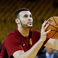 OAKLAND, CA - JUN 3: Larry Nance Jr. #22 of the Cleveland Cavaliers warms up prior to Game Two of the 2018 NBA Finals won 122-103 by the Golden State Warriors over the Cleveland Cavaliers at the Oracle Arena on June 3, 2018 in Oakland, California. NOTE TO USER: User expressly acknowledges and agrees that, by downloading and or using this photograph, User is consenting to the terms and conditions of the Getty Images License Agreement. Mandatory Copyright Notice: Copyright 2018 NBAE (Photo by Chris Elise/NBAE via Getty Images)